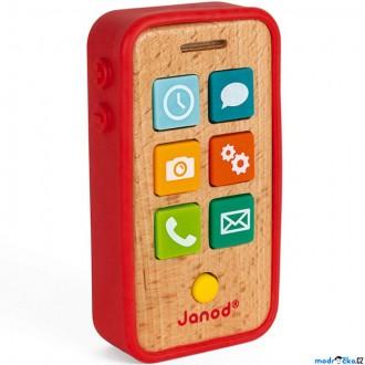 Pro nejmenší - Telefon dětský - Dřevěný se zvuky a obalem (Janod)