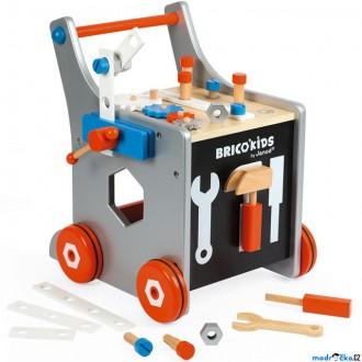 Pro nejmenší - Chodítko dřevěné - Vozík s nářadím BricoKids (Janod)