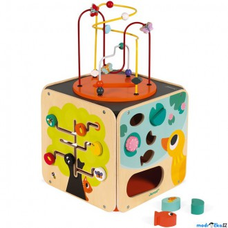 Dřevěné hračky - Motorická kostka - Dřevěná Maxi Multi Activity (Janod)