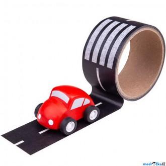 Dřevěné hračky - Lepící páska - Cesta s dřevěným autíčkem (Bigjigs)