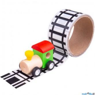 Dřevěné hračky - Lepící páska - Koleje s dřevěnou mašinkou (Bigjigs)
