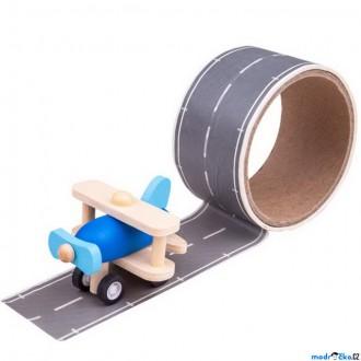 Dřevěné hračky - Lepící páska - Runway s dřevěným letadlem (Bigjigs)