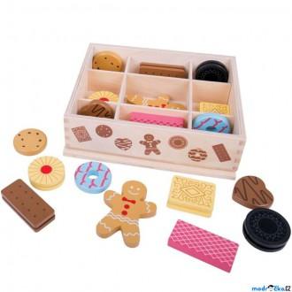 Dřevěné hračky - Dekorace prodejny - Box s dřevěnými sušenkami (Bigjigs)