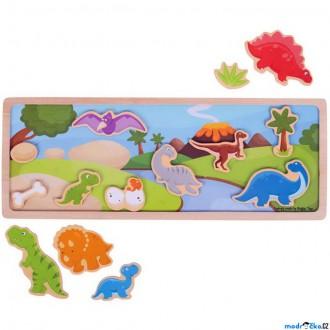 Puzzle a hlavolamy - Puzzle magnetické - Dinosauři na desce dřevěné (Bigjigs)