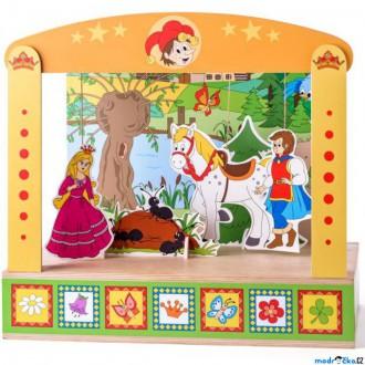 Dřevěné hračky - Divadlo - Loutkové divadlo s knížkou pohádek (Woody)