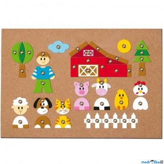 Dřevěné hračky - Hra s kladívkem - Deska s přibíjecími tvary, Zvířátka (Woody)