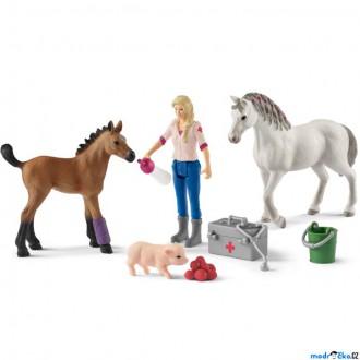 Ostatní hračky - Schleich - Farma, Návštěva lékaře u klisny a hříbě