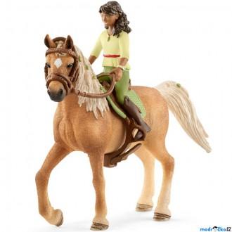 Ostatní hračky - Schleich - Kůň s jezdcem, Černovláska Sarah a kůň Mystery