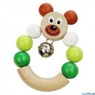 Pro nejmenší - Chrastítko - Kroužek do ruky, Medvěd zelené (Detoa)