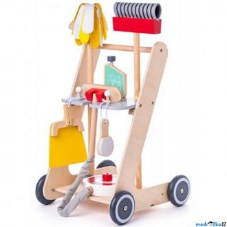 Dřevěné hračky - Hospodyňka - Dětský úklidový vozík dřevěný (Woody)