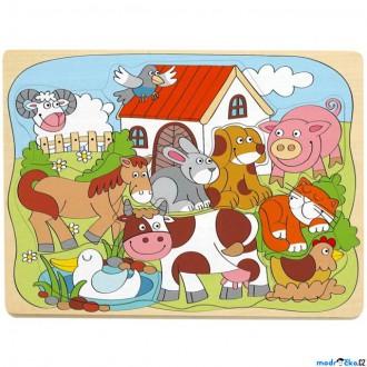 Puzzle a hlavolamy - Puzzle vkládací - Domácí veselá zvířátka, 10ks (Woody)