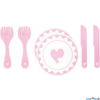 Dřevěné hračky - Kuchyň - Dřevěný set nádobí srdce (Legler)