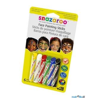 Ostatní hračky - Snazaroo - Tužky na obličej, Základní, 6 barev