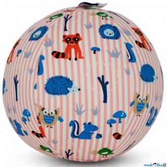 Pro nejmenší - BubaBloon - Látkový nafukovací míč, Se zvířátky růžové pruhy