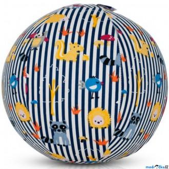 Pro nejmenší - BubaBloon - Látkový nafukovací míč, Se zvířátky modré pruhy