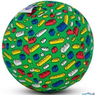 Pro nejmenší - BubaBloon - Látkový nafukovací míč, Zelený s barevnýma kostkama