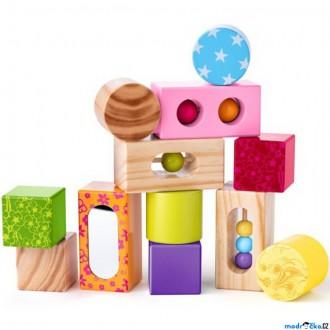 Stavebnice - Kostky - Dřevěné s chrastítkem a zrcátkem (Niny)