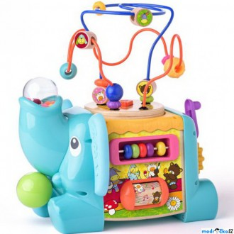 Dřevěné hračky - Motorická kostka - Didaktický slon s labyrintem (Niny)