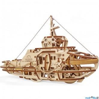 Stavebnice - 3D mechanický model - Loď remorkér (Ugears)