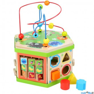Dřevěné hračky - Motorická kostka - Didaktický šestihran Safari (Legler)