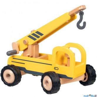 Dřevěné hračky - Auto - Dřevěný autojeřáb s gumovými koly (Goki)