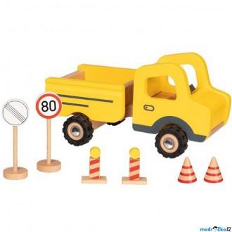 Dřevěné hračky - Auto - Dřevěné ze stavby + dopravní značky (Goki)