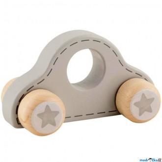 Dřevěné hračky - Auto - Šedé autíčko s hvězdičkami (Goki)