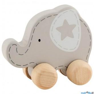 Dřevěné hračky - Zvířátko na kolečkách - Slon s hvězdičkou (Goki)