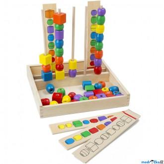 Dřevěné hračky - Skládačka - Stohování dřevěných korálků (M&D)