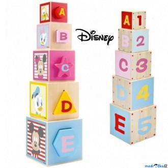 Dřevěné hračky - Pyramida - Věž z 5 kostek, Mickey dřevěná (Disney Derrson)