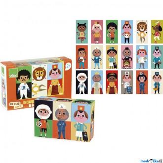 Stavebnice - Kostky obrázkové 6ks - Zábavné postavičky (Vilac)