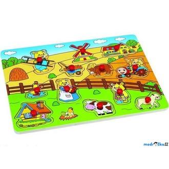 Puzzle a hlavolamy - Puzzle vkládací - Farma s medvídky, 12ks (Woto)