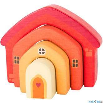 Stavebnice - Kostky - Oblouky, Dřevěný skládací domeček, 4ks (Legler)