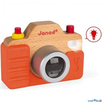 Pro nejmenší - Fotoaparát dětský - Dřevěný se zvukem a světlem (Janod)