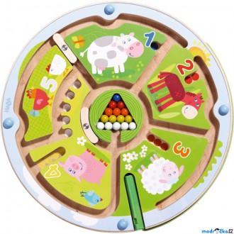 Dřevěné hračky - Motorický labyrint - Magnetická hra, Farma čísla (Haba)