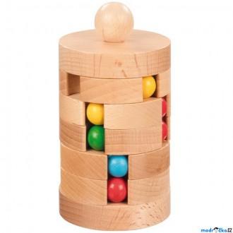 Puzzle a hlavolamy - Hlavolam dřevěný - Věž otočná s kuličkama (Goki)