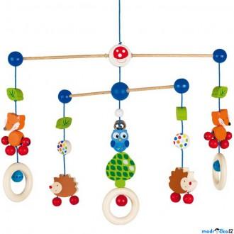 Dřevěné hračky - Kolotoč závěsný dřevěný - Lesní zvířátka (Goki)