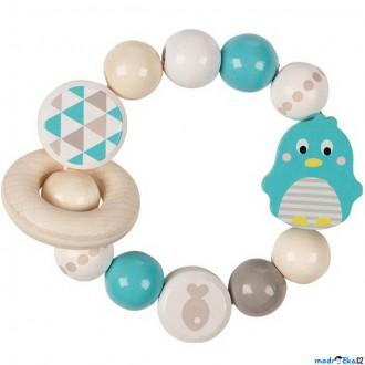 Pro nejmenší - Chrastítko - Kroužek korálkový, Tučňák tyrkysový (Heimess)