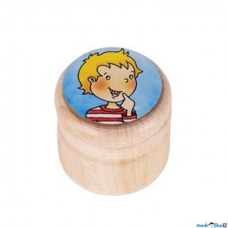 Dřevěné hračky - Dřevěná krabička na první zoubky - Kluk modrá (Goki)
