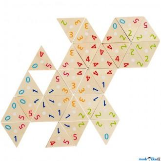 Dřevěné hračky - Domino - Tri-Domino trojúhelníky s čísly, 76ks (Go