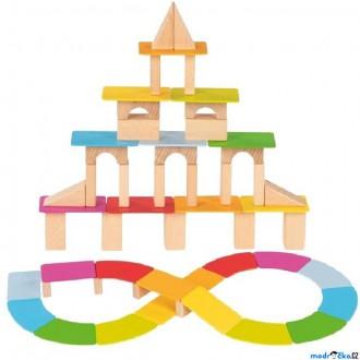 Stavebnice - Kostky - Barevné, Kostky a destičky, 100ks (Goki)