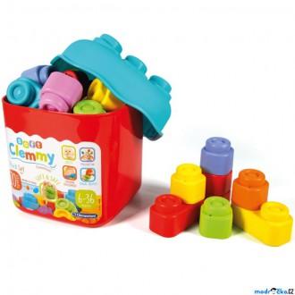 Stavebnice - Clementoni - Clemmy, Kostky v kyblíku barevné, 20ks