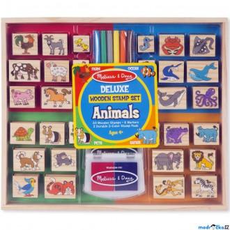Dřevěné hračky - Razítka dřevěná - Set zvířátka deluxe (M&D)