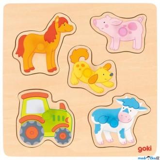 Pro nejmenší - Puzzle pro nejmenší - Úchyt, Farma, 5ks (Goki)