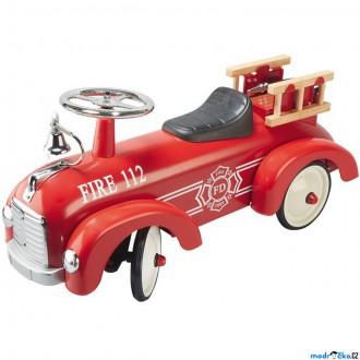 Dřevěné hračky - Odrážedlo kovové - Historické závodní auto, požární (Goki)