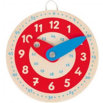 Dřevěné hračky - Hodiny - Dřevěné malé k procvičování, 10cm (Goki)
