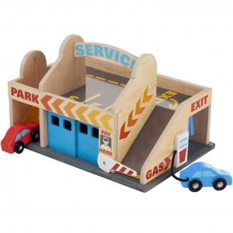 Dřevěné hračky - Garáž dřevěná - Servisní stanice s autíčky (M&D)
