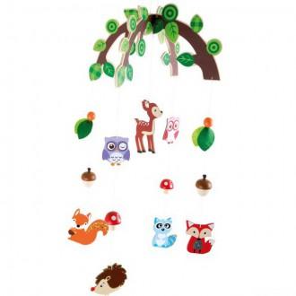 Dřevěné hračky - Kolotoč závěsný dřevěný - Lesní zvířátka (Legler)