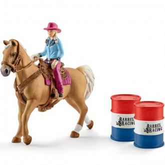 Ostatní hračky - Schleich - Kůň s jezdcem, Kovbojka s barely