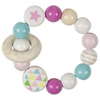 Pro nejmenší - Chrastítko - Kroužek korálkový, Růžovo-tyrkysový (Heimess)